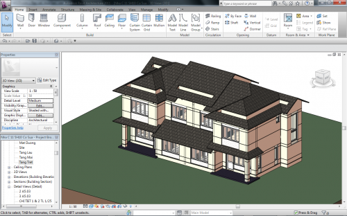 Interface Revit Software para Arquitetura 3D