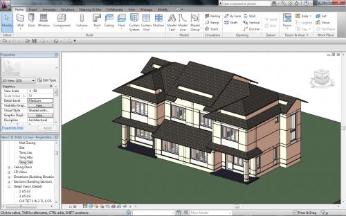 Interface Revit Software para Arquitetura 3D