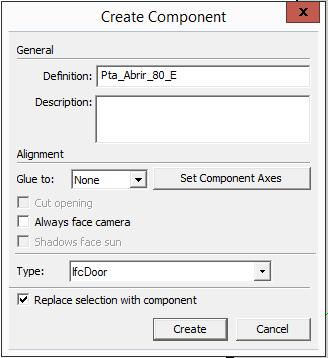 Dicas para criar portas no sketchup representadas em 3d e 2d for Porta ketchup