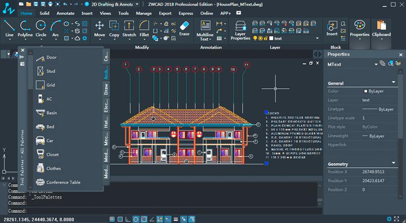 funcionalidades do software ZWCAD