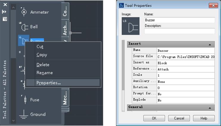 tool properties zwcad